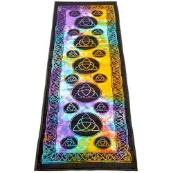 Triquetra Tie Dye Cotton Yoga Mat All Wicca Wiccan Altar Supplies, All Wicca Books, Pagan Jewelry, Wiccan Statues