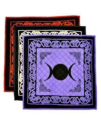 Triple Moon Cotton Meditation Mats - 3 Assorted Colors All Wicca Store Magickal Supplies Wiccan Supplies, Wicca Books, Pagan Jewelry, Altar Statues