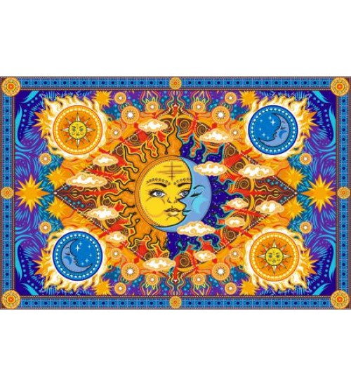 Firey Sun and Moon Cotton Bedspread at All Wicca Store Magickal Supplies, Wiccan Supplies, Wicca Books, Pagan Jewelry, Altar Statues