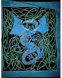 Celtic English Dragon Tapestry - Full Size Blue All Wicca Store Magickal Supplies Wiccan Supplies, Wicca Books, Pagan Jewelry, Altar Statues