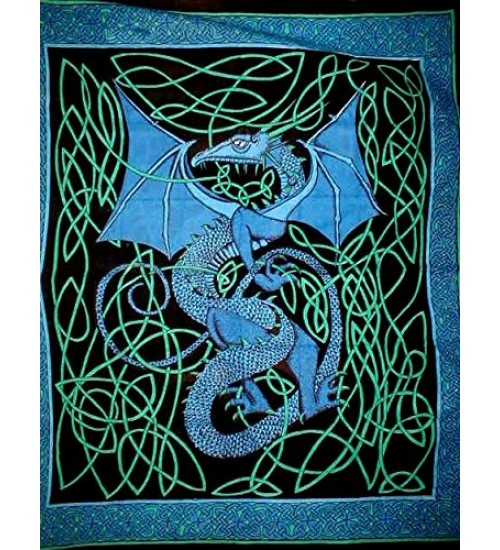 Celtic English Dragon Tapestry - Full Size Blue at All Wicca Store Magickal Supplies, Wiccan Supplies, Wicca Books, Pagan Jewelry, Altar Statues
