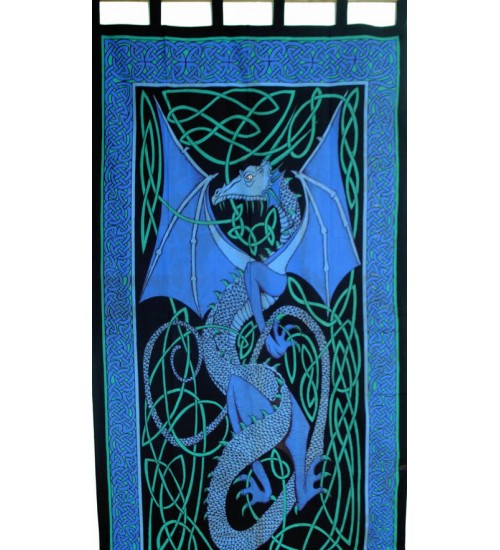 Celtic English Dragon Curtain - Blue at All Wicca Store Magickal Supplies, Wiccan Supplies, Wicca Books, Pagan Jewelry, Altar Statues