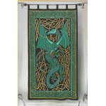 Celtic English Dragon Curtain - Green