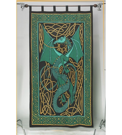 Celtic English Dragon Curtain - Green at All Wicca Store Magickal Supplies, Wiccan Supplies, Wicca Books, Pagan Jewelry, Altar Statues