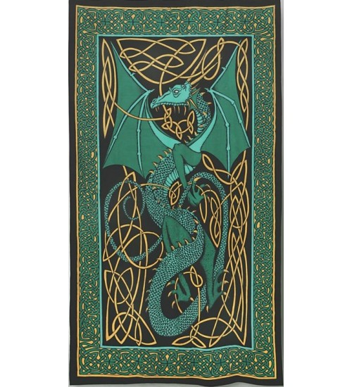Celtic English Dragon Tapestry - Twin Size Green at All Wicca Store Magickal Supplies, Wiccan Supplies, Wicca Books, Pagan Jewelry, Altar Statues
