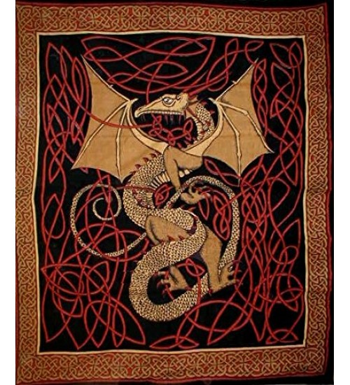 Celtic English Dragon Tapestry - Full Size Red at All Wicca Store Magickal Supplies, Wiccan Supplies, Wicca Books, Pagan Jewelry, Altar Statues