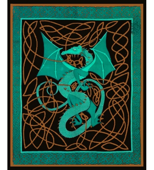Celtic English Dragon Tapestry - Full Size Green at All Wicca Store Magickal Supplies, Wiccan Supplies, Wicca Books, Pagan Jewelry, Altar Statues