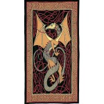 Celtic English Dragon Tapestry - Twin Size Red