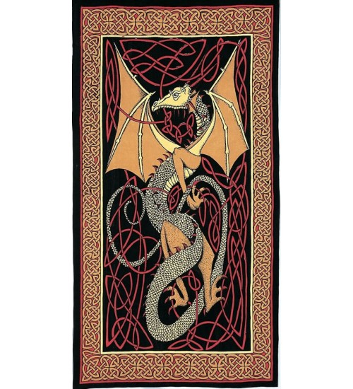 Celtic English Dragon Tapestry - Twin Size Red at All Wicca Store Magickal Supplies, Wiccan Supplies, Wicca Books, Pagan Jewelry, Altar Statues