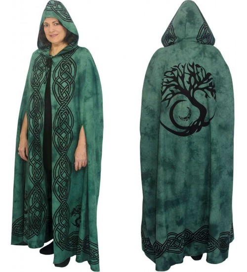 Green Tree of Life Hooded Cloak at All Wicca Store Magickal Supplies, Wiccan Supplies, Wicca Books, Pagan Jewelry, Altar Statues