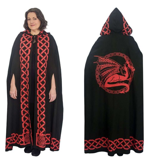 Red Dragon Black Hooded Cloak at All Wicca Store Magickal Supplies, Wiccan Supplies, Wicca Books, Pagan Jewelry, Altar Statues