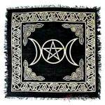 Triple Moon Altar Cloth - Gold and Black