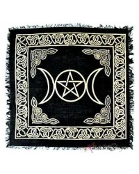 Triple Moon Altar Cloth - Gold and Black All Wicca Store Magickal Supplies Wiccan Supplies, Wicca Books, Pagan Jewelry, Altar Statues