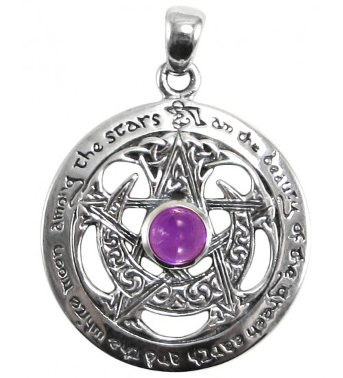 Moon Pentacle Sterling Silver Pendant with Amethyst at All Wicca Store Magickal Supplies, Wiccan Supplies, Wicca Books, Pagan Jewelry, Altar Statues