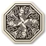 Fish Celtic Porcelain Octagonal Necklace