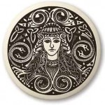 Brigantia Celtic Goddess Porcelain Round Necklace