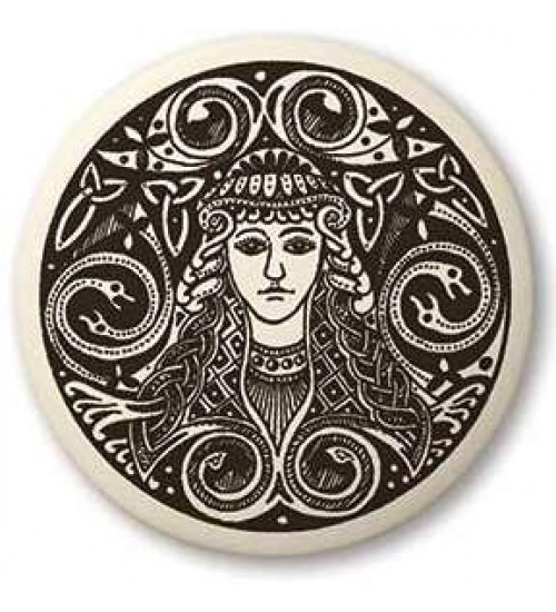 Brigantia Celtic Goddess Porcelain Round Necklace at All Wicca Store Magickal Supplies, Wiccan Supplies, Wicca Books, Pagan Jewelry, Altar Statues