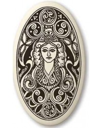 Brigantia Celtic Goddess Porcelain Oval Necklace All Wicca Store Magickal Supplies Wiccan Supplies, Wicca Books, Pagan Jewelry, Altar Statues