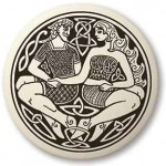 Divine Couple Celtic Round Porcelain Necklace