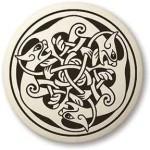Cat Celtic Round Porcelain Necklace