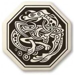 Celtic Dog Octagon Porcelain Necklace