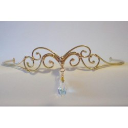 Abstract Swirl Bronze Circlet with Crystal Drop All Wicca Wiccan Altar Supplies, Books, Jewelry, Statues