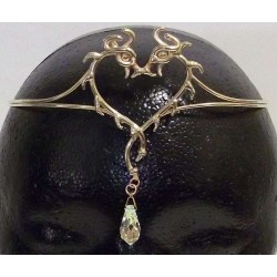 Double Dragon Bronze Circlet with Crystal Drop All Wicca Wiccan Altar Supplies, Books, Jewelry, Statues