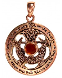 Moon Pentacle Copper Pendant with Amber All Wicca Store Magickal Supplies Wiccan Supplies, Wicca Books, Pagan Jewelry, Altar Statues