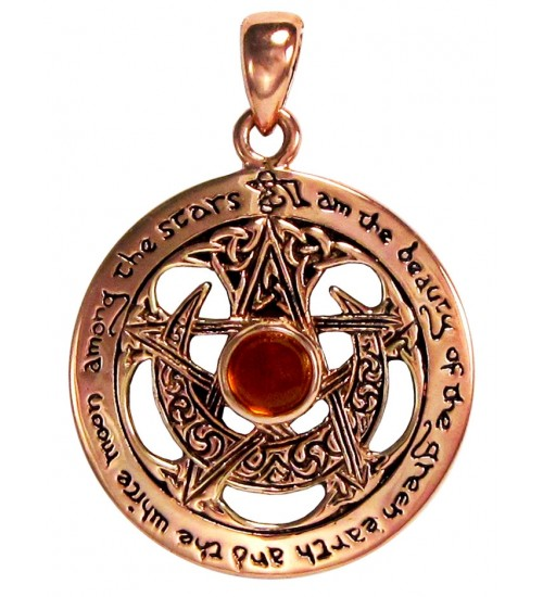 Moon Pentacle Copper Pendant with Amber at All Wicca Store Magickal Supplies, Wiccan Supplies, Wicca Books, Pagan Jewelry, Altar Statues