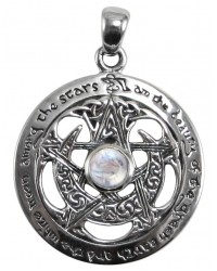 Moon Pentacle Sterling Silver Pendant with Moonstone