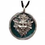 Green Man Enameled Pewter Necklace