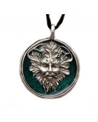 Green Man Enameled Pewter Necklace All Wicca Store Magickal Supplies Wiccan Supplies, Wicca Books, Pagan Jewelry, Altar Statues