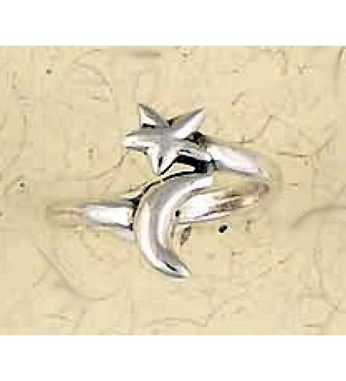 Moon and Star Sterling Silver Ring at All Wicca Store Magickal Supplies, Wiccan Supplies, Wicca Books, Pagan Jewelry, Altar Statues