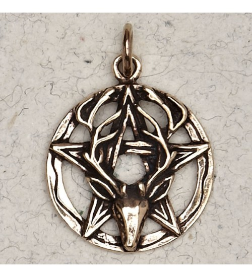Stag Pentacle Bronze Necklace at All Wicca Store Magickal Supplies, Wiccan Supplies, Wicca Books, Pagan Jewelry, Altar Statues