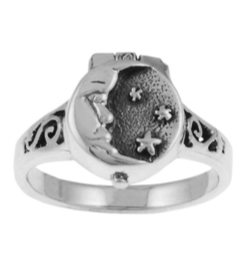 Moon and Stars Poison Ring at All Wicca Store Magickal Supplies, Wiccan Supplies, Wicca Books, Pagan Jewelry, Altar Statues