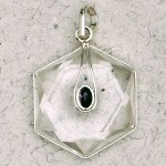 Clear Quartz 6 Point Prisma Star with Gemstone Pendant