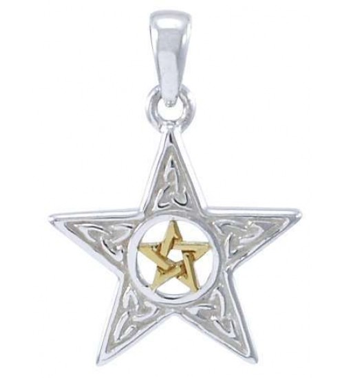Celtic Double Pentagram Pendant in Sterling Silver and Gold at All Wicca Store Magickal Supplies, Wiccan Supplies, Wicca Books, Pagan Jewelry, Altar Statues
