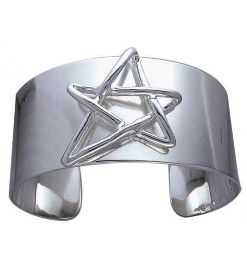 Modern Pentagram Cuff Bracelet in Sterling Silver at All Wicca Store Magickal Supplies, Wiccan Supplies, Wicca Books, Pagan Jewelry, Altar Statues