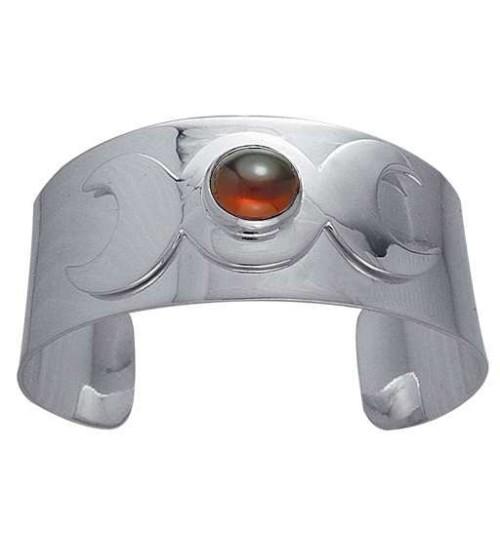 Triple Moon Sterling Silver Gemstone Cuff Bracelet