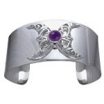 Double Moon Sterling Silver Gemstone Cuff Bracelet