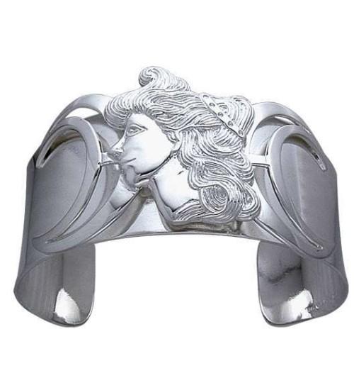 Moon Goddess Sterling Silver Cuff Bracelet