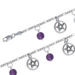 Pentacle and Gemstone Charm Bracelet