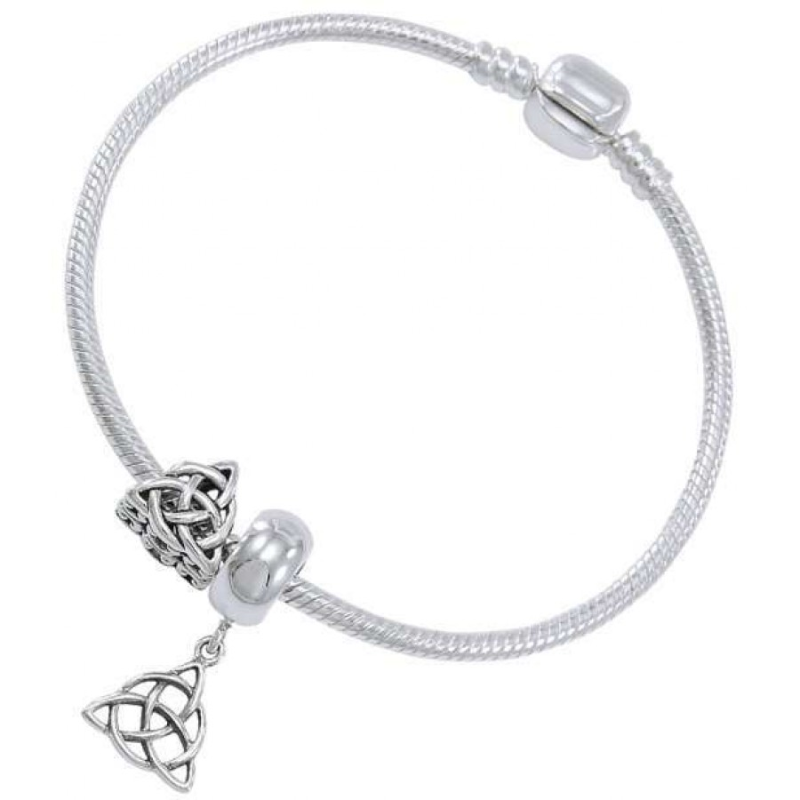 Triquetra Sterling Silver Bead Bracelet