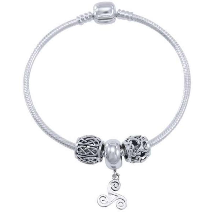 Triskele Sterling Silver Bead Bracelet