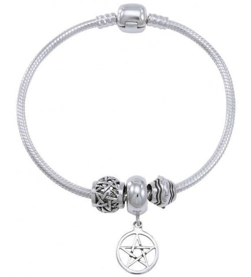 Pentagram Sterling Silver Bead Bracelet at All Wicca Store Magickal Supplies, Wiccan Supplies, Wicca Books, Pagan Jewelry, Altar Statues