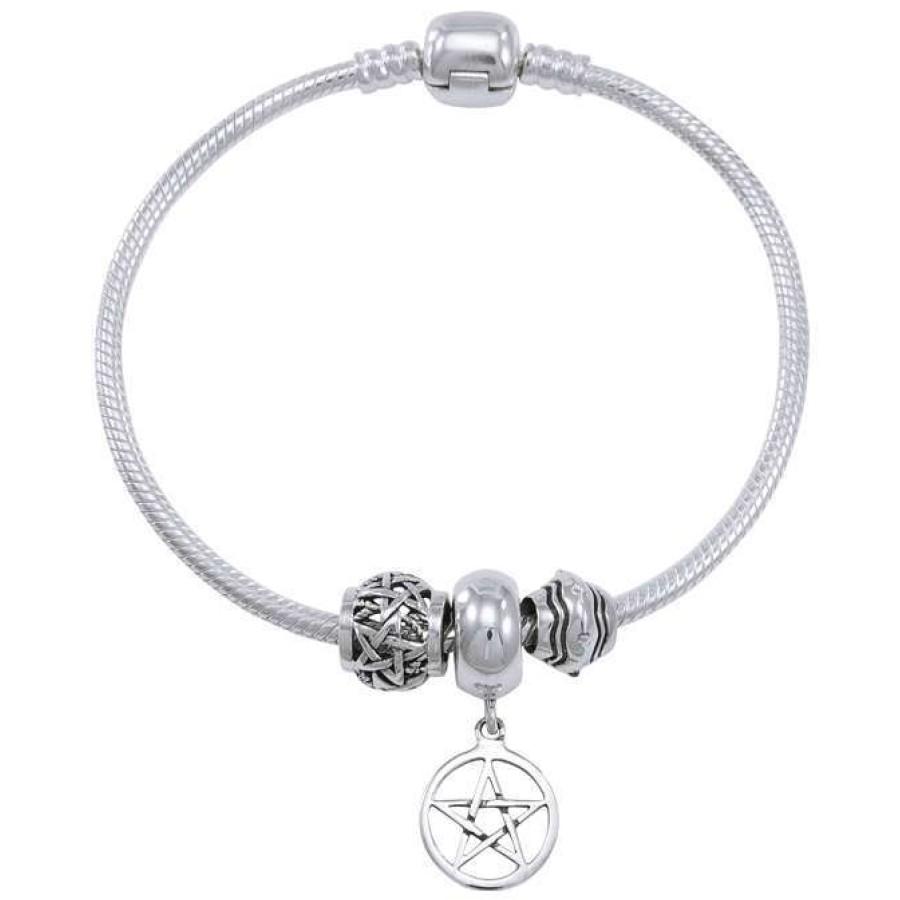 Pentagram Sterling Silver Bead Bracelet