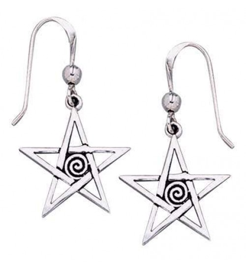 Spiral Pentacle Earrings at All Wicca Store Magickal Supplies, Wiccan Supplies, Wicca Books, Pagan Jewelry, Altar Statues
