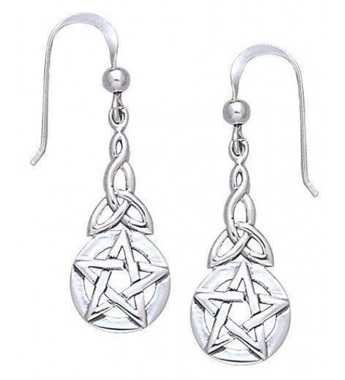 Triquetra Pentacle Earrings in Sterling Silver at All Wicca Magickal Supplies, Wiccan Supplies, Wicca Books, Pagan Jewelry, Altar Statues