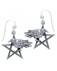 Pentacle Raven Earrings All Wicca Store Magickal Supplies Wiccan Supplies, Wicca Books, Pagan Jewelry, Altar Statues