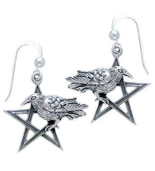 Pentacle Raven Earrings at All Wicca Magical Supplies, Wiccan Supplies, Wicca Books, Pagan Jewelry, Altar Statues